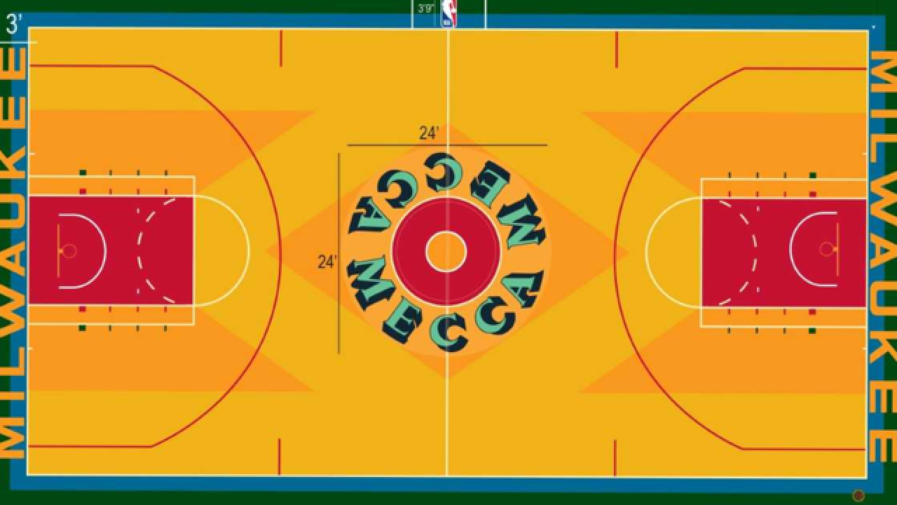 a5c4a3bfe72 Bucks unveil throwback court for  Return To MECCA  game
