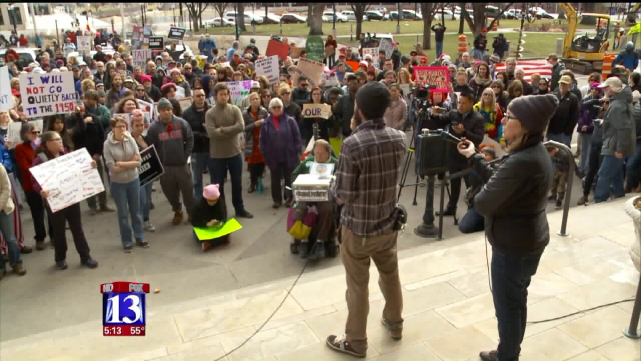 Hundreds turn out in SLC for 'Not My PresidentsDay'