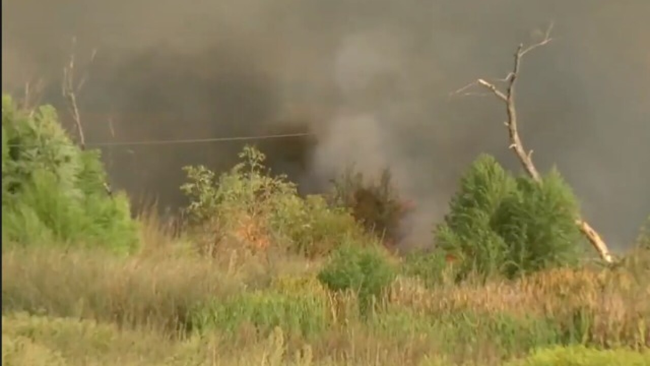 Small grass fire burning in Oildale