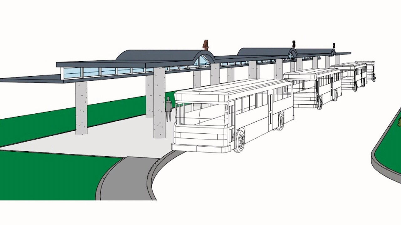 A rendering of the two transit stops to be built at the new Del Mar College Southside campus