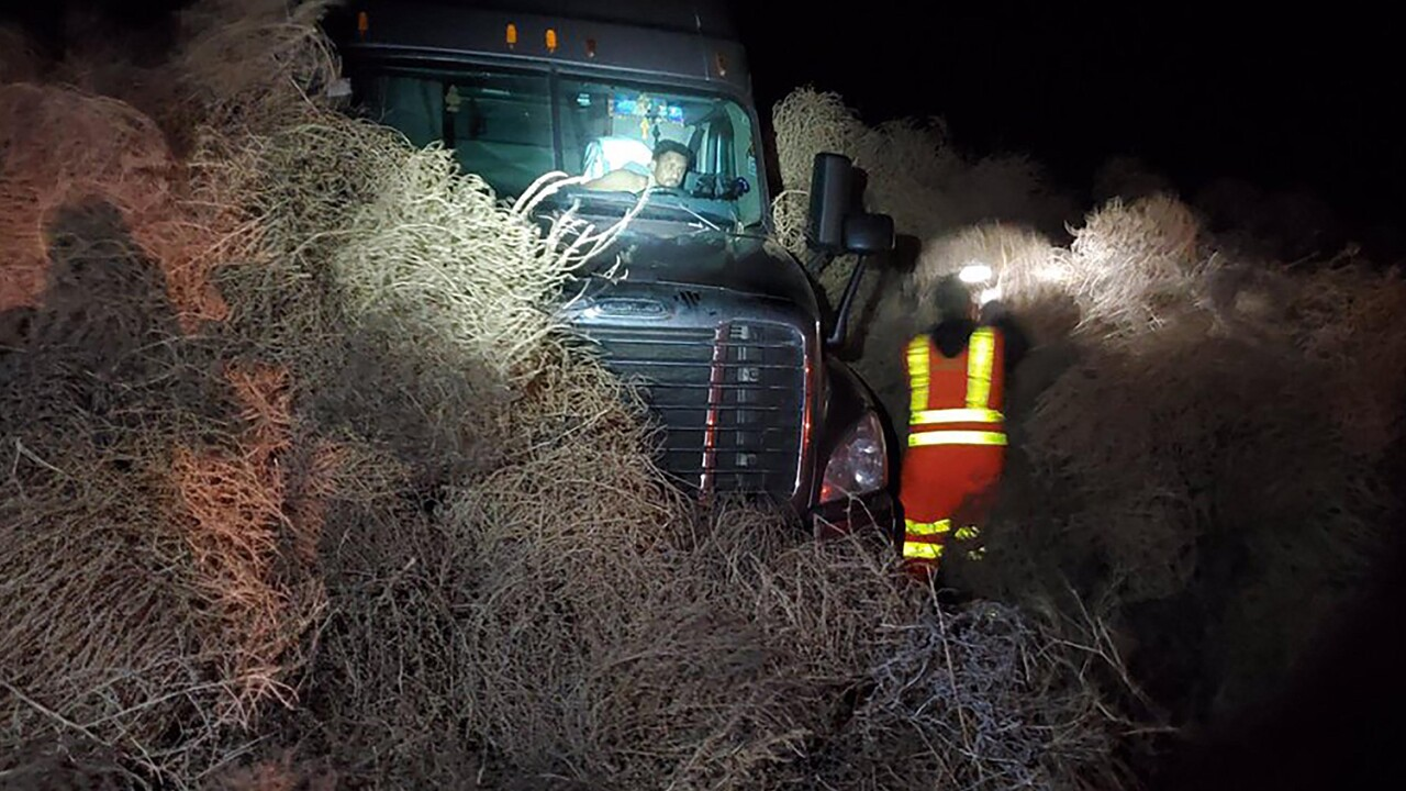 Blustery winds blew a thicket of tumbleweeds onto a Washington state highway, leaving people trapped in their cars on New Year's Eve.