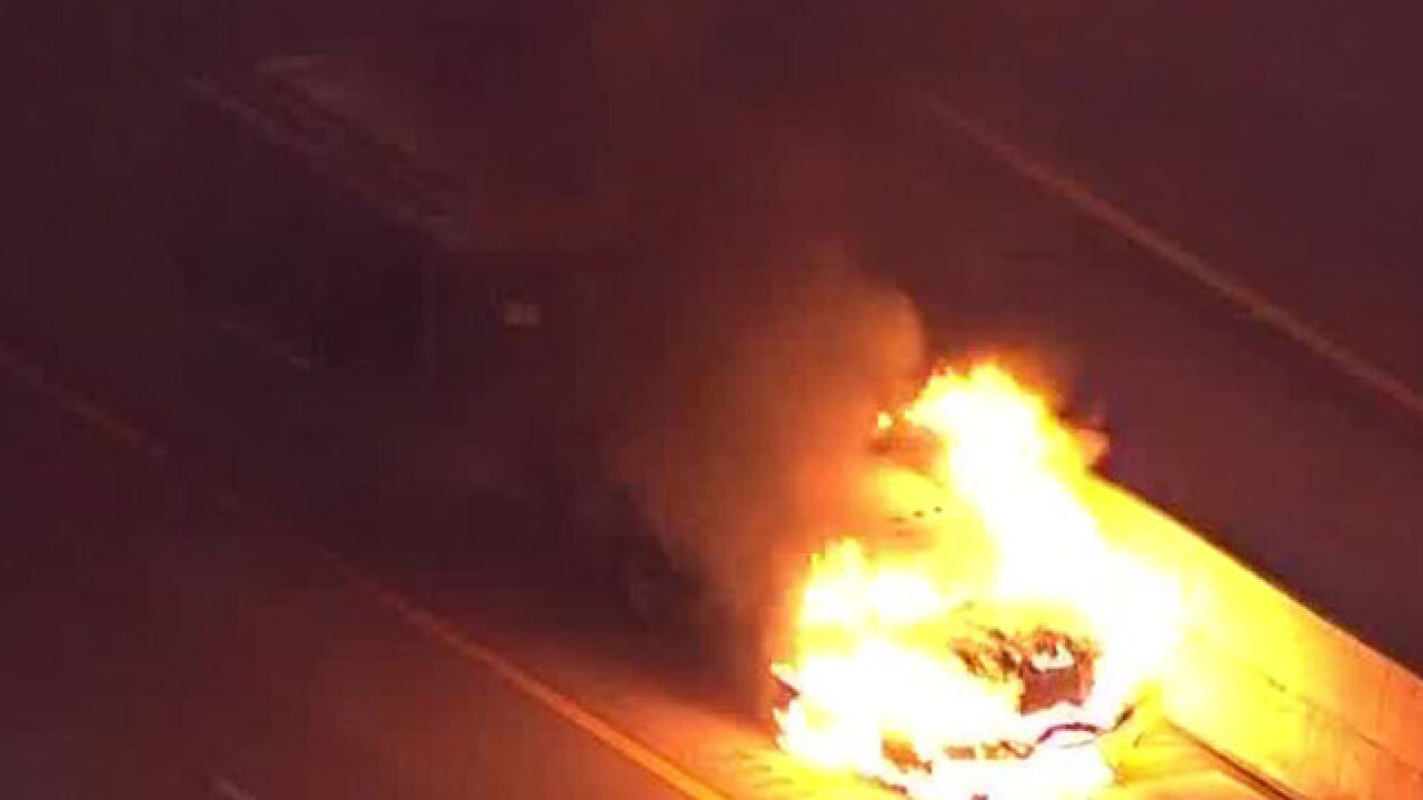 Truck engulfed by fire on southbound I-95 in Delray Beach