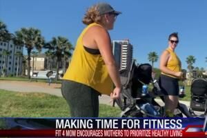 Group of moms work out with their kids post pregnancy