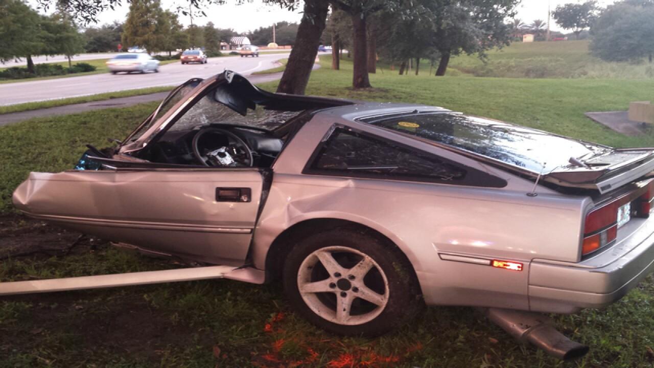 Driver survives crash that split car in two
