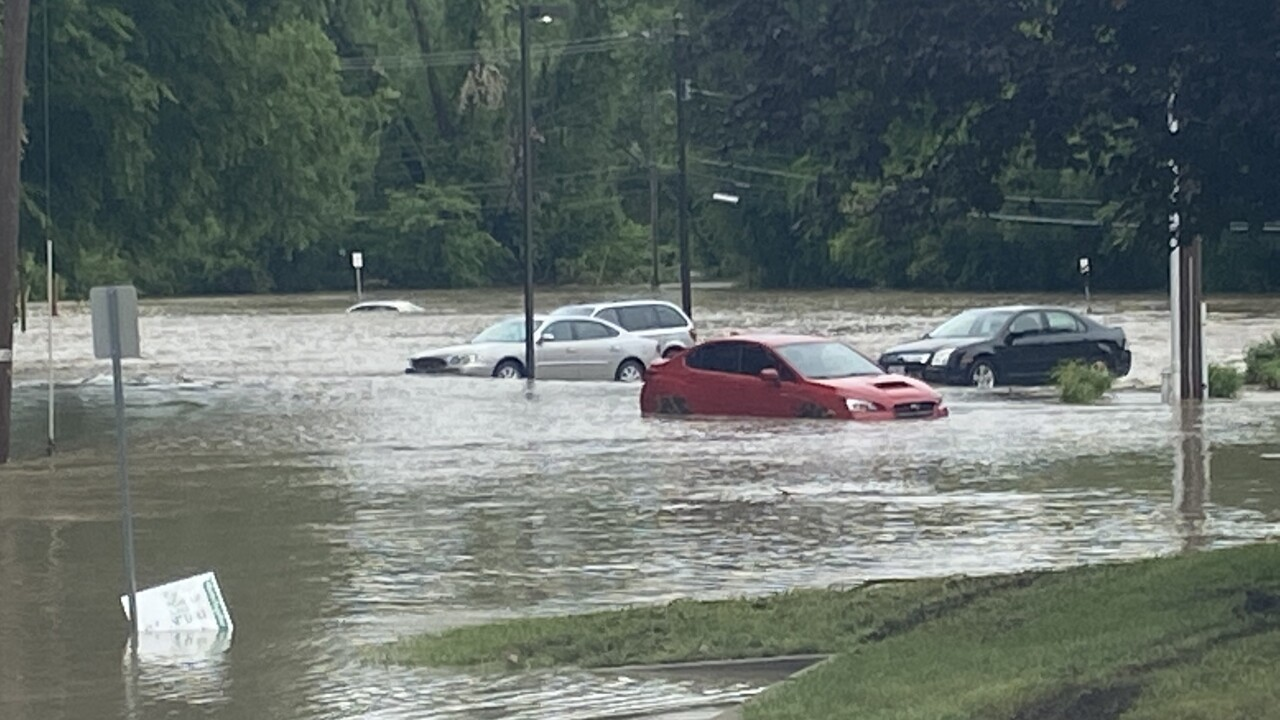 Officer Amy Hermosillo's car after floodwaters started receding