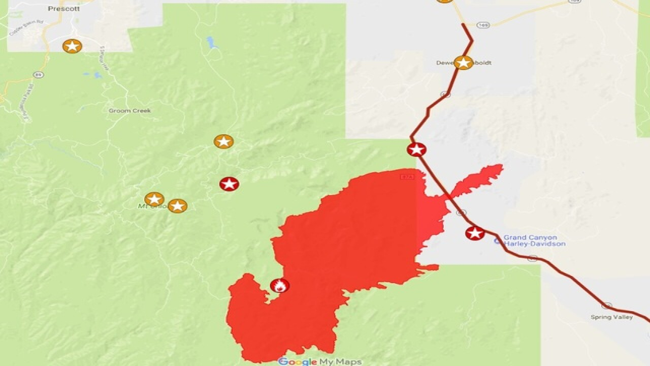 Goodwin Fire map: Track size of wildfire burning near Prescott