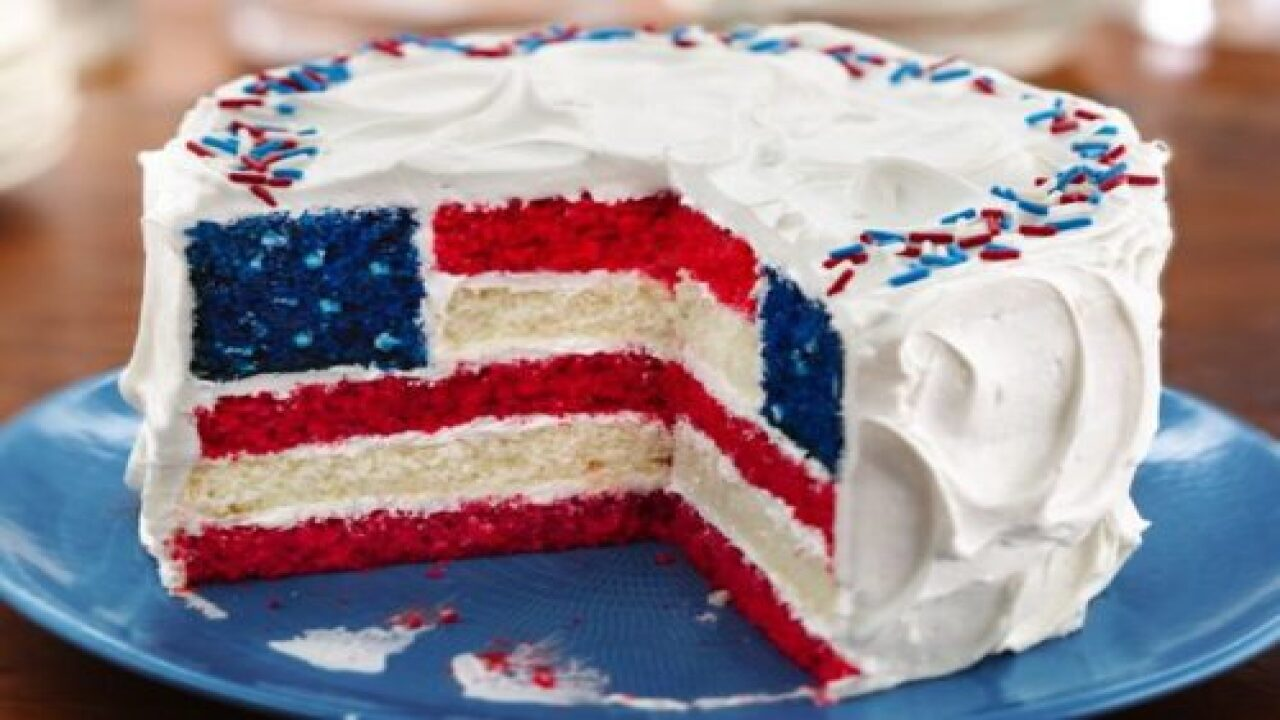 This Layered Flag Cake Might Be The Most Patriotic Dessert We've Ever Seen