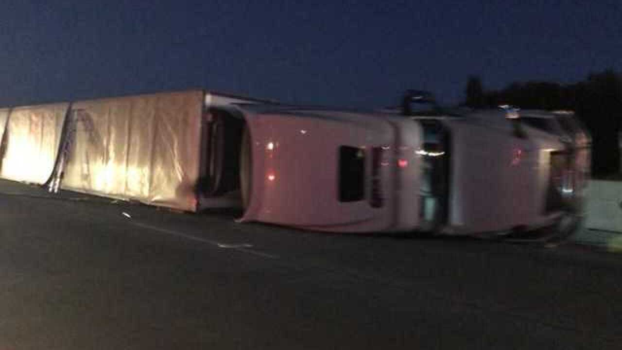 I-84 lanes reopened near Meridian following early morning semi rollover