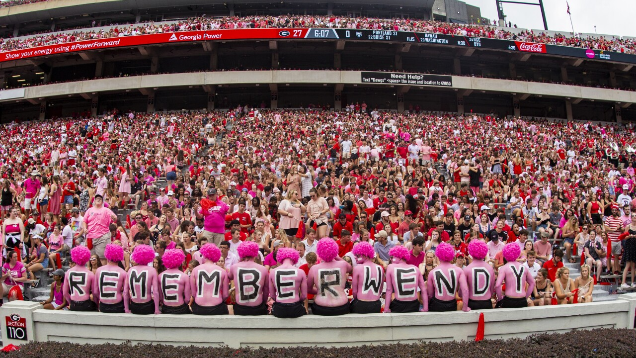 University of Georgia fans staged a 'pink out' for opponent's coach, whose wife just died of cancer