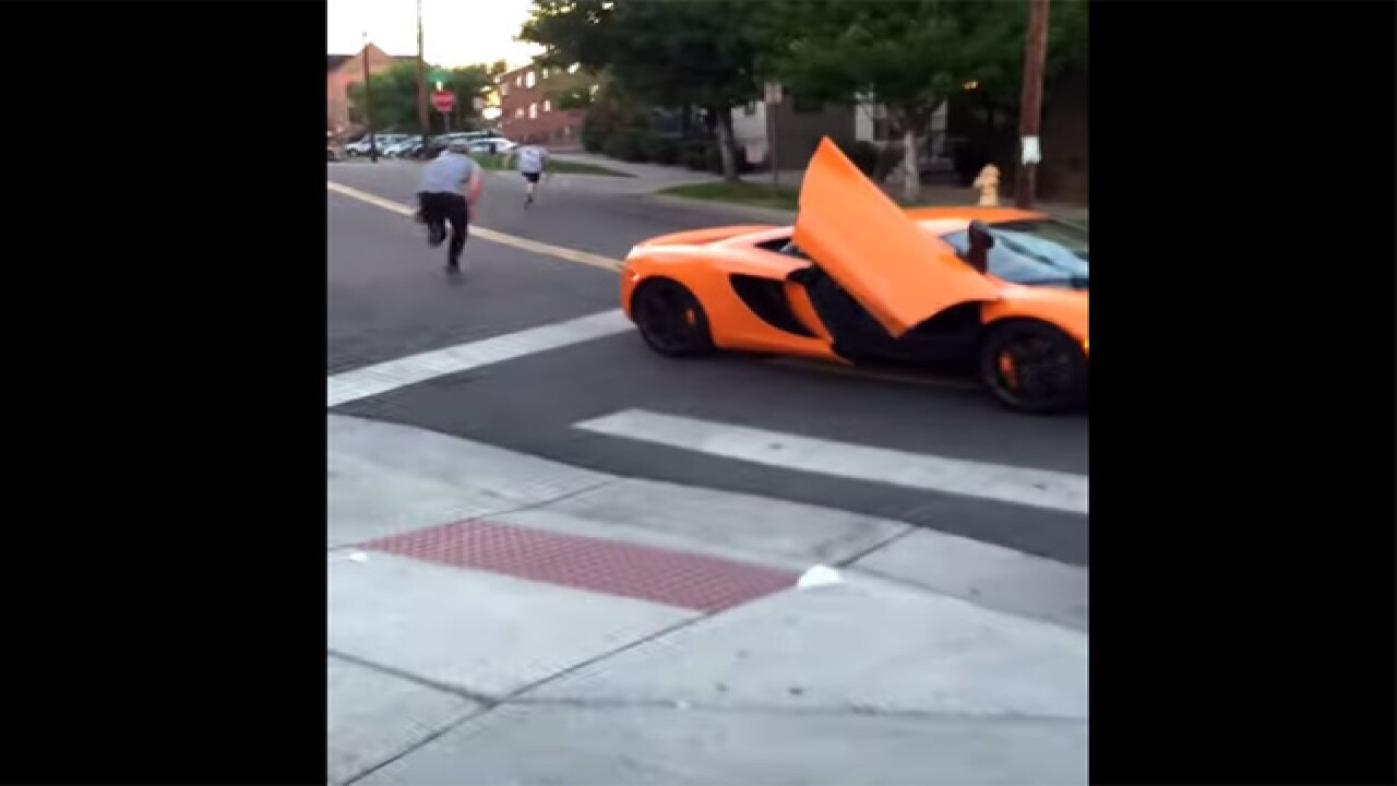 Exotic car driver punished by skateboarder