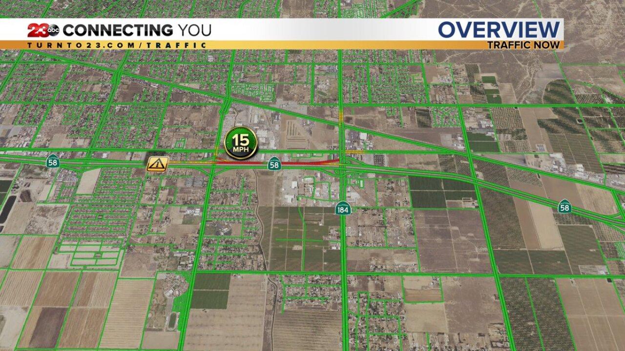 Westbound 58 shut down at Fairfax following crash involving Caltrans on