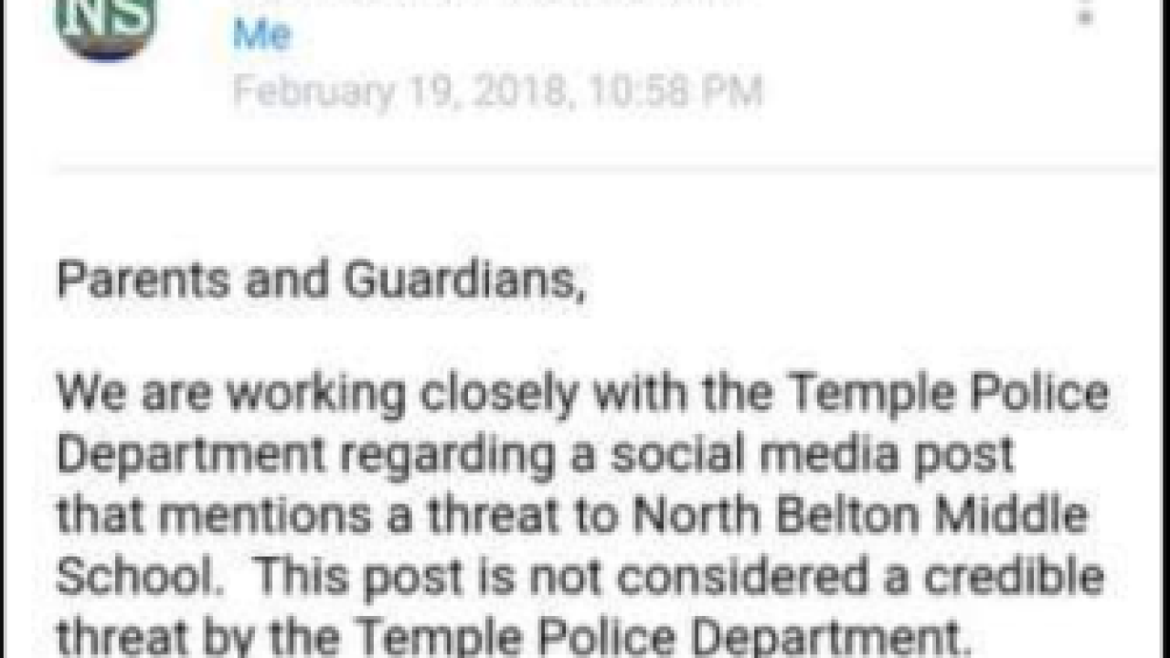 Threat made at Belton ISD was by 14-year-old girl