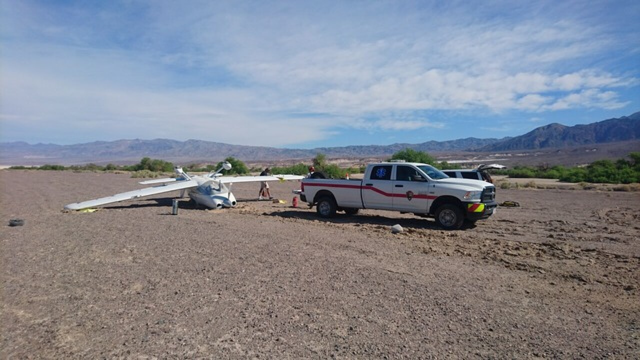 Plane crashes on landing at Death Valley airport