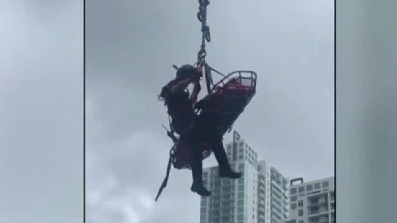Miami high-rise rescue caught on camera after worker hurt