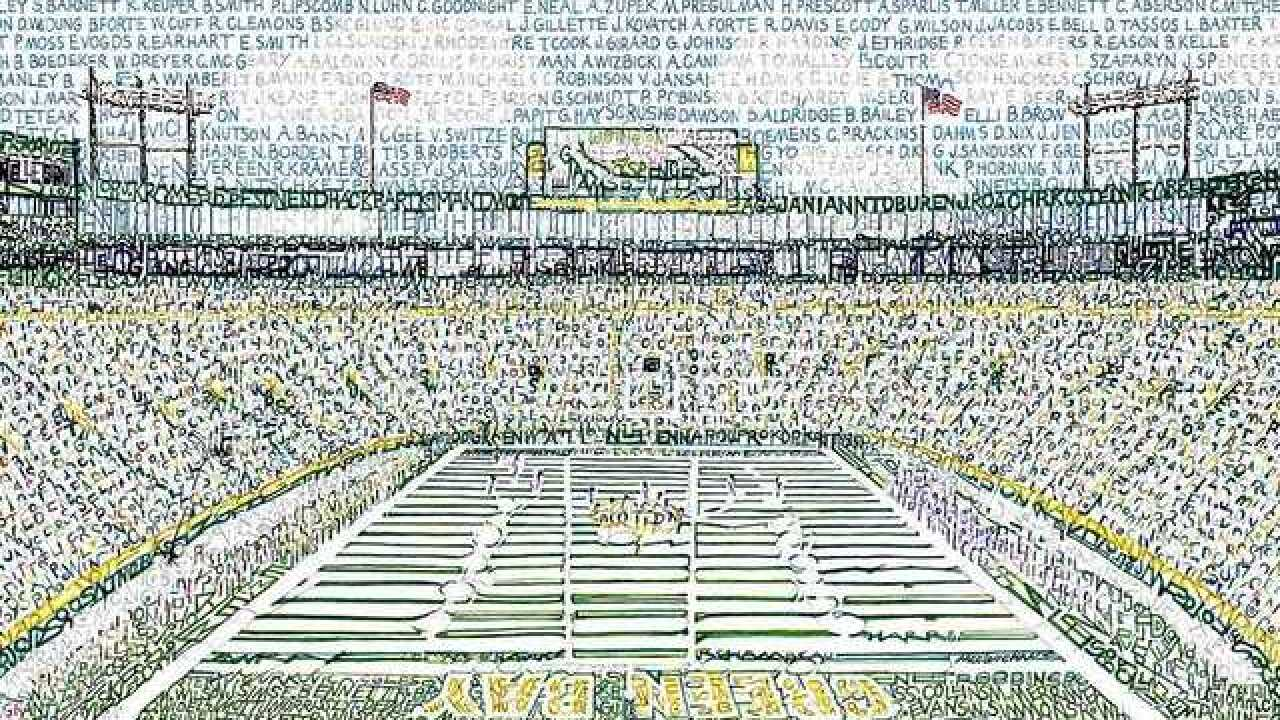 Artist recreates Lambeau with Packers' names