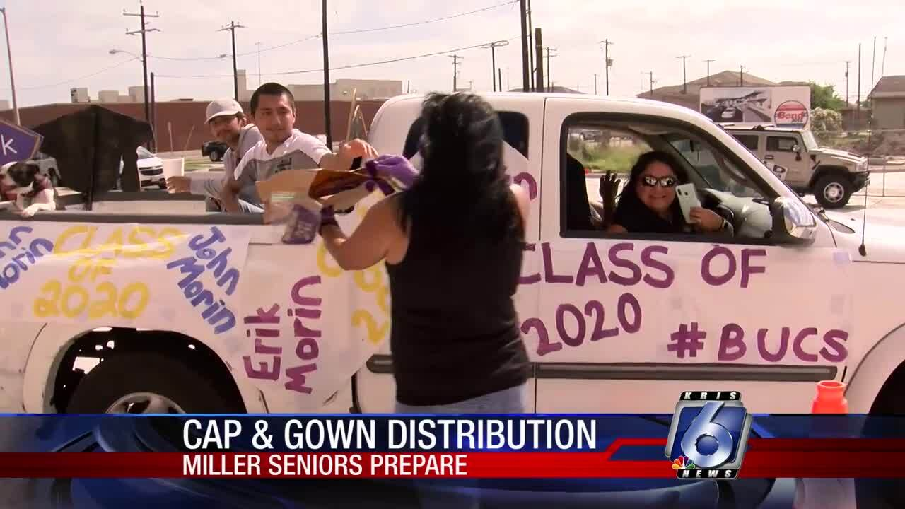 Miller seniors return to pick up graduation caps, gowns