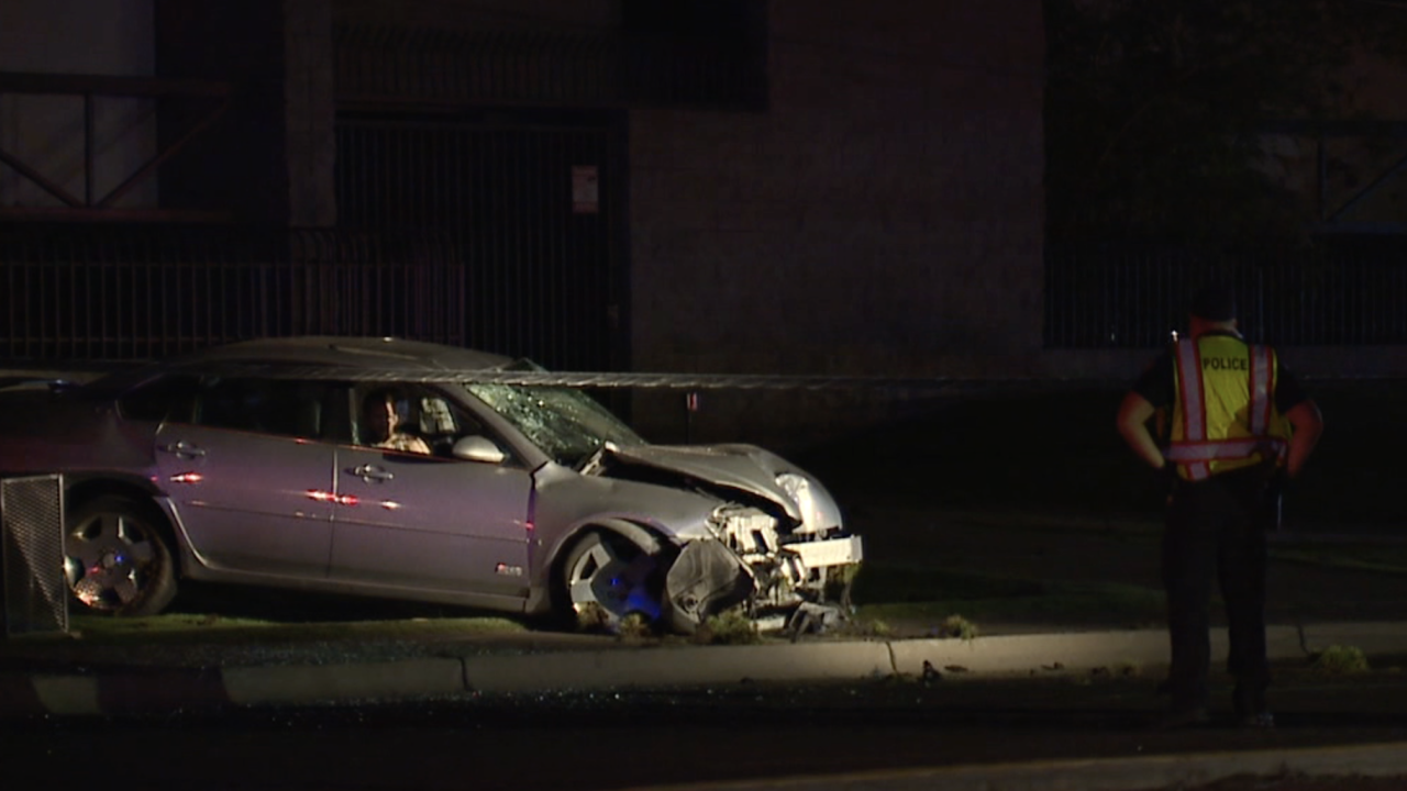Car crashes into power pole in Phoenix