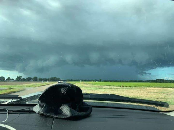 Rain ahead of Tropical Storm Barry.