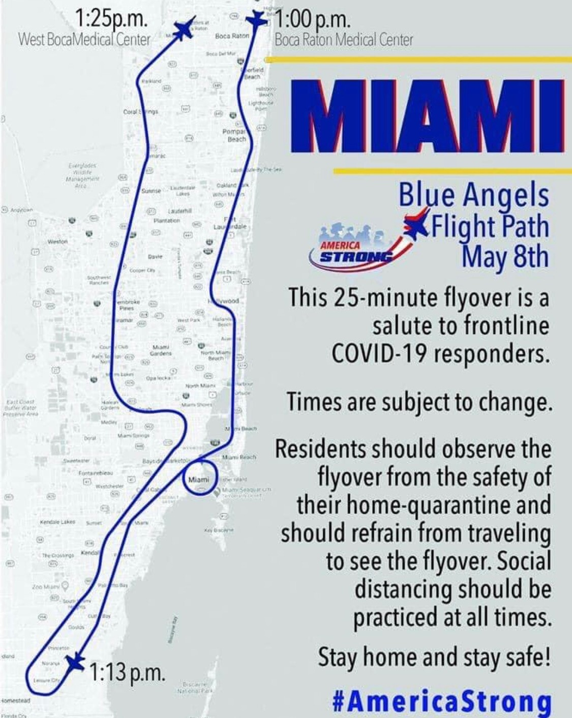 The flight path of the Blue Angels on Friday, May 8 starts and ends at hospitals in southern Palm Beach County.