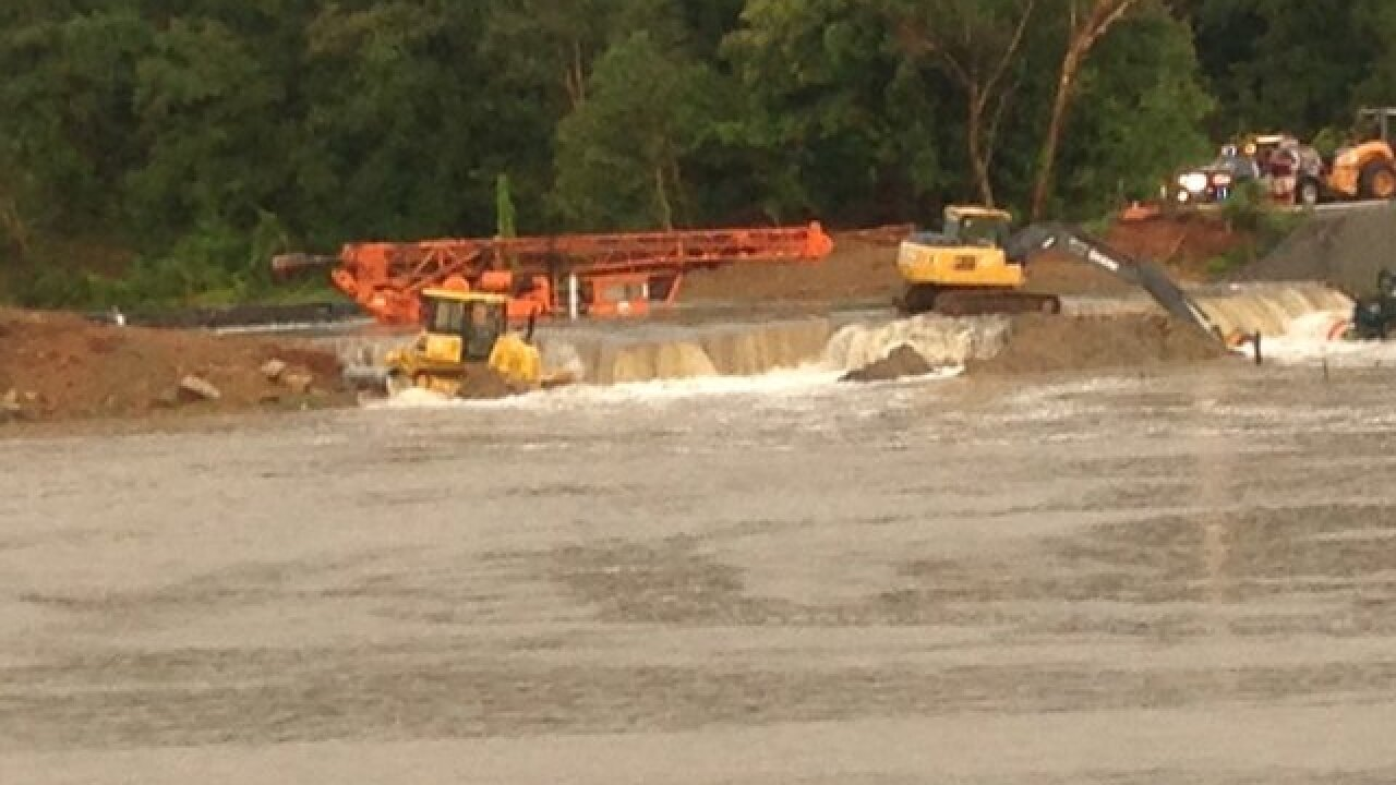 City of Sapulpa equipment swept into lake