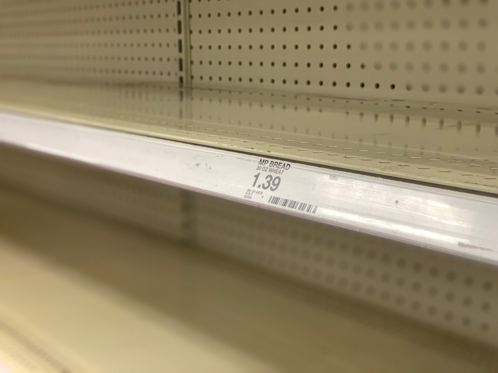 Bread shelves at a Metairie, Louisiana Target