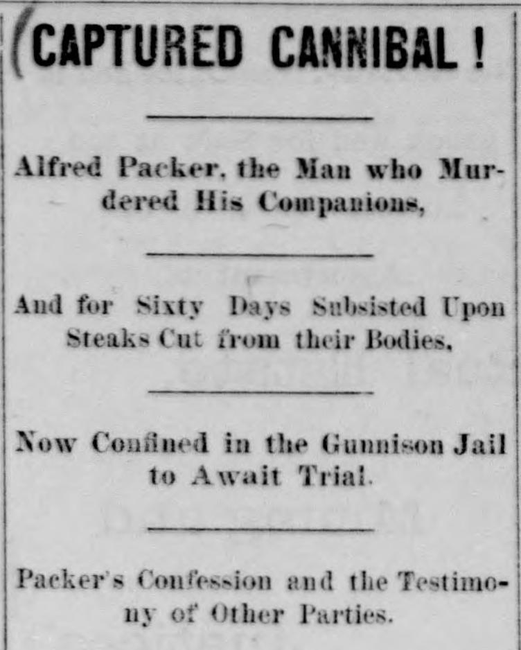 Alferd Packer arrest after escape_Gunnison Daily Review-Press_1883-03-19.png