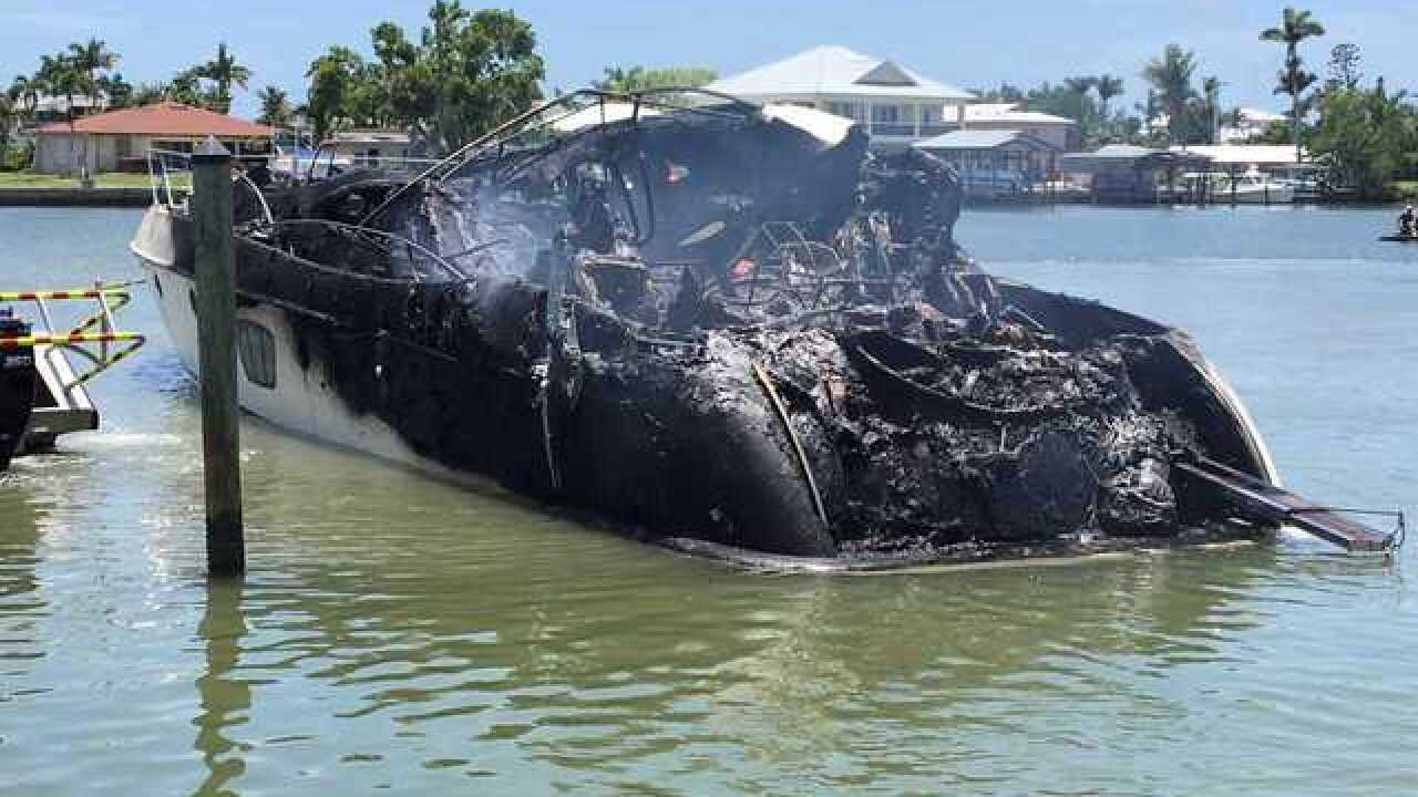 Boat destroyed by fire at Marco Island marina