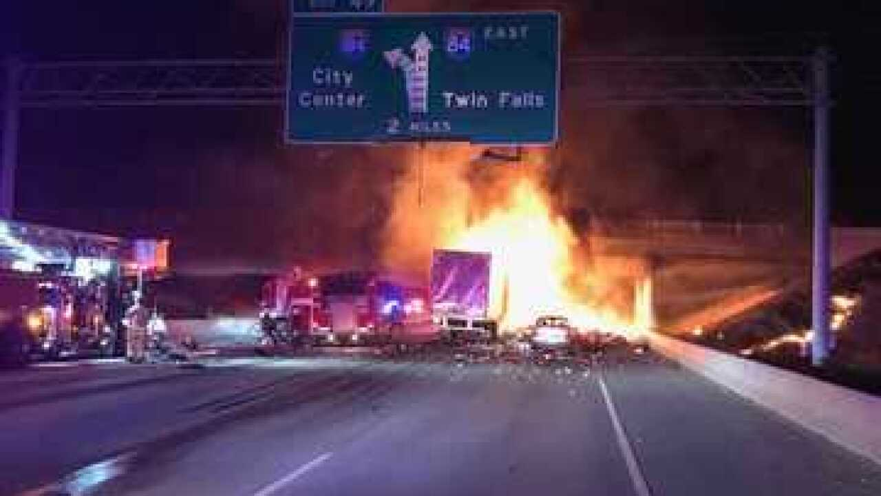 Ada County Coroner confirms 4 died in fiery Interstate 84 crash