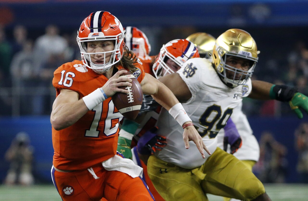 Clemson Tigers QB Trevor Lawrence vs. Notre Dame Fighting Irish in College Football Playoff semifinal at Cotton Bowl