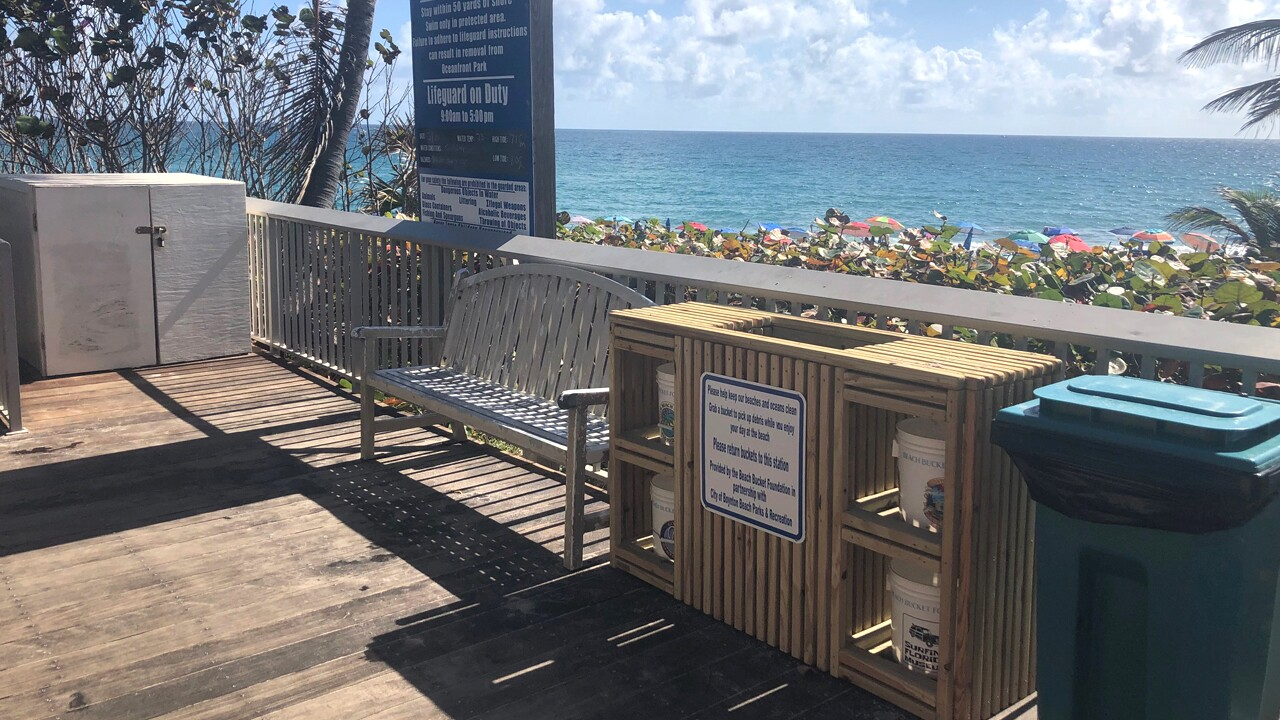 A new bucket station has been built at Oceanfront Park at the Boynton Beach city beach.