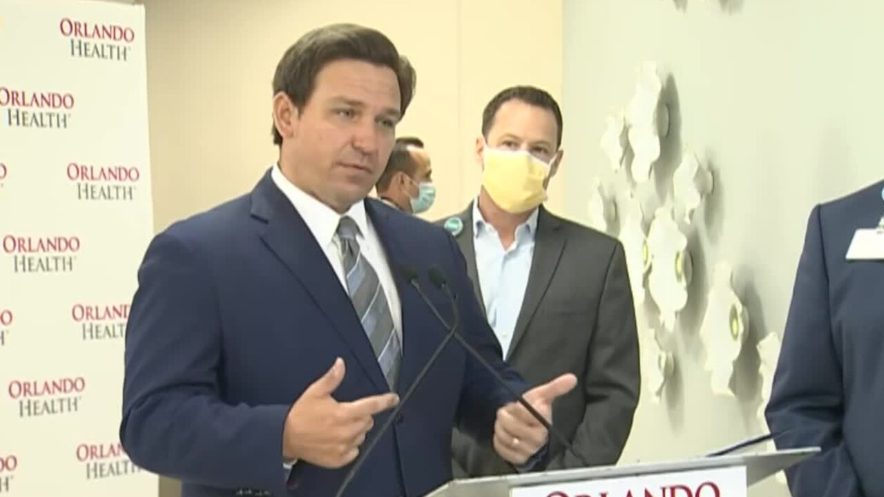 Gov. Ron DeSantis at Orlando Health South Seminole Hospital, Jan. 4, 2021