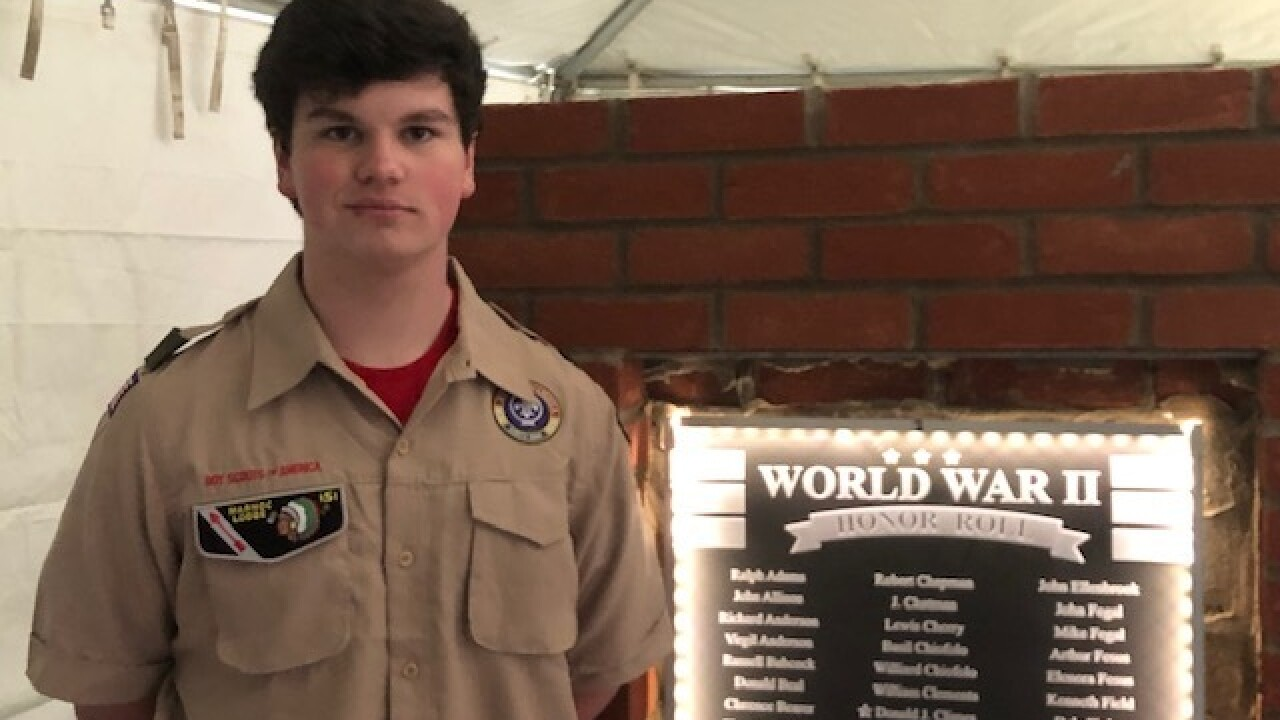 Local Boy Scout honors WWII vets with monument
