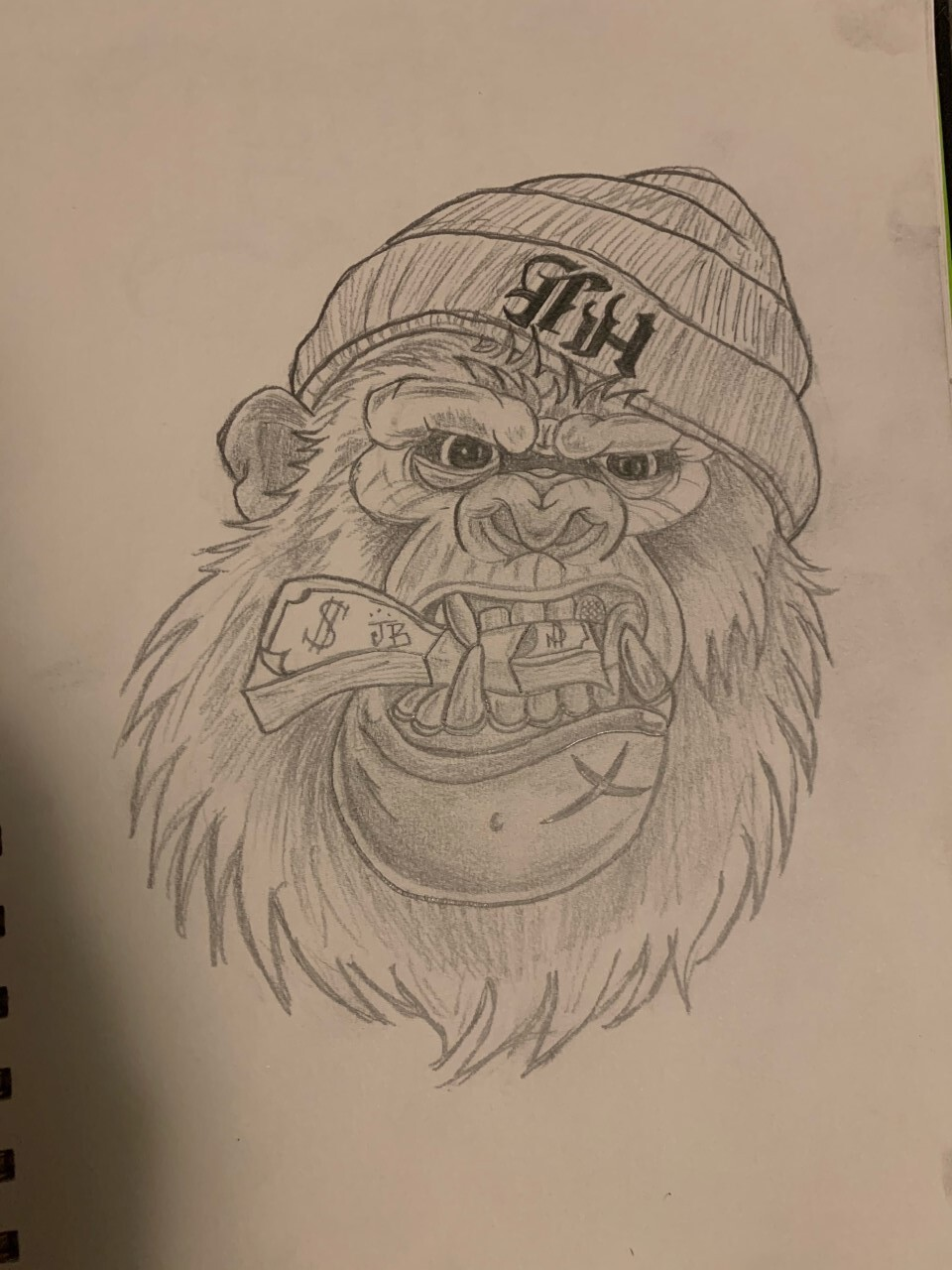 Amyah Moore-Allen's drawing of a gorilla eating cash