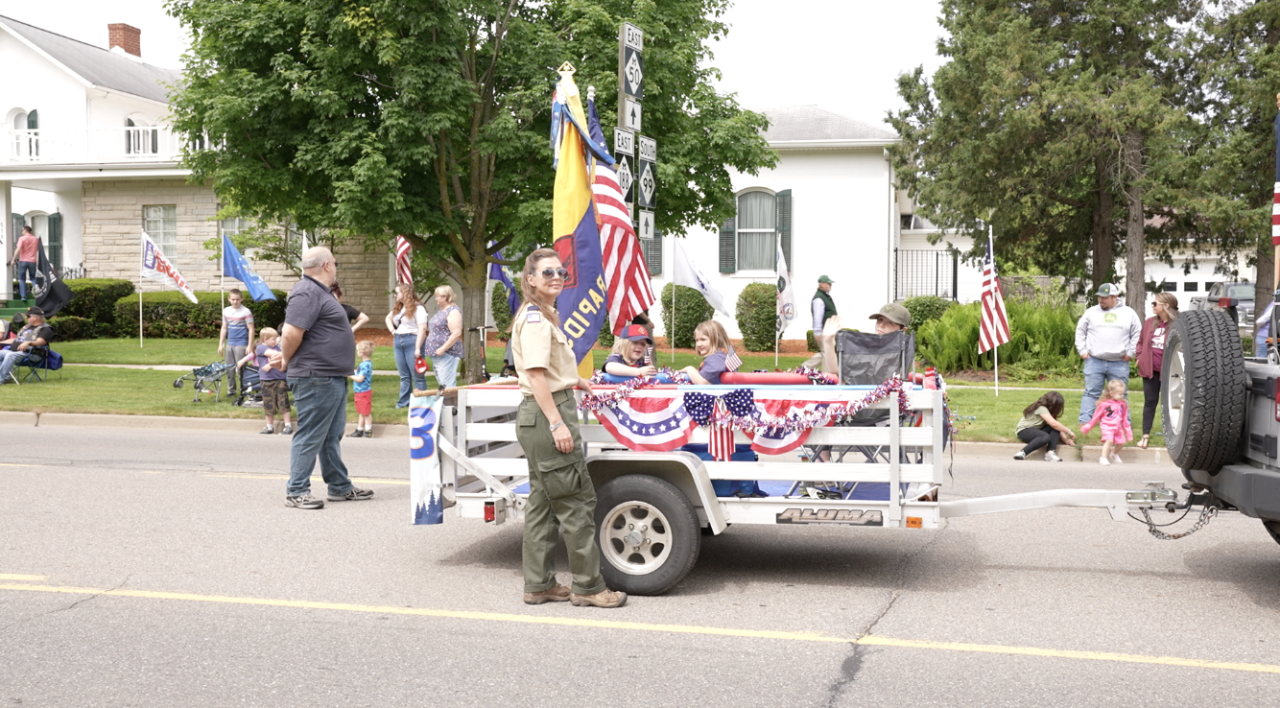 Girl scouts in the Memorial Day parade