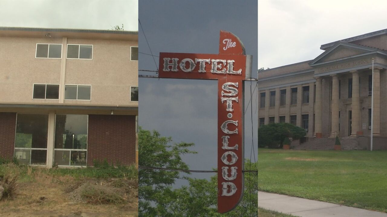 From left to right: building at former St. Scholastica Academy, Hotel St. Cloud sign, Florence Middle School