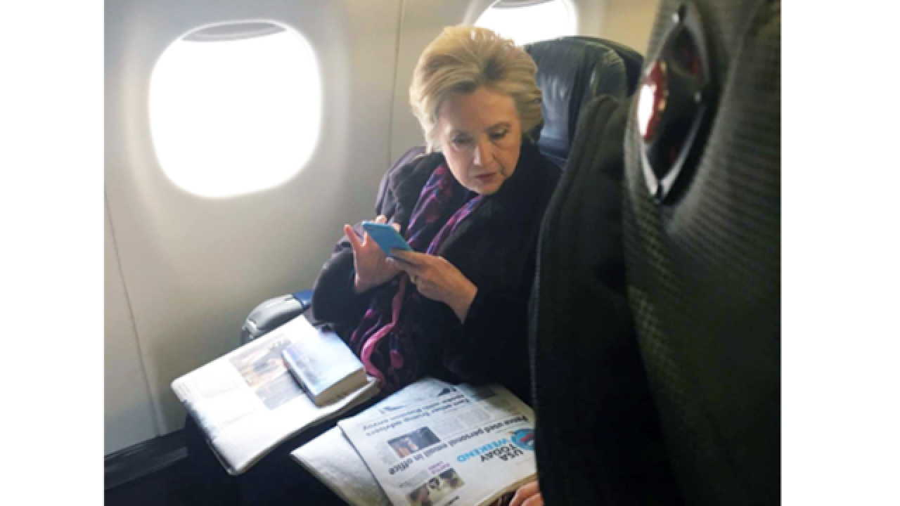 Photo of Hillary Clinton reading news about Mike Pence's private emails goes viral