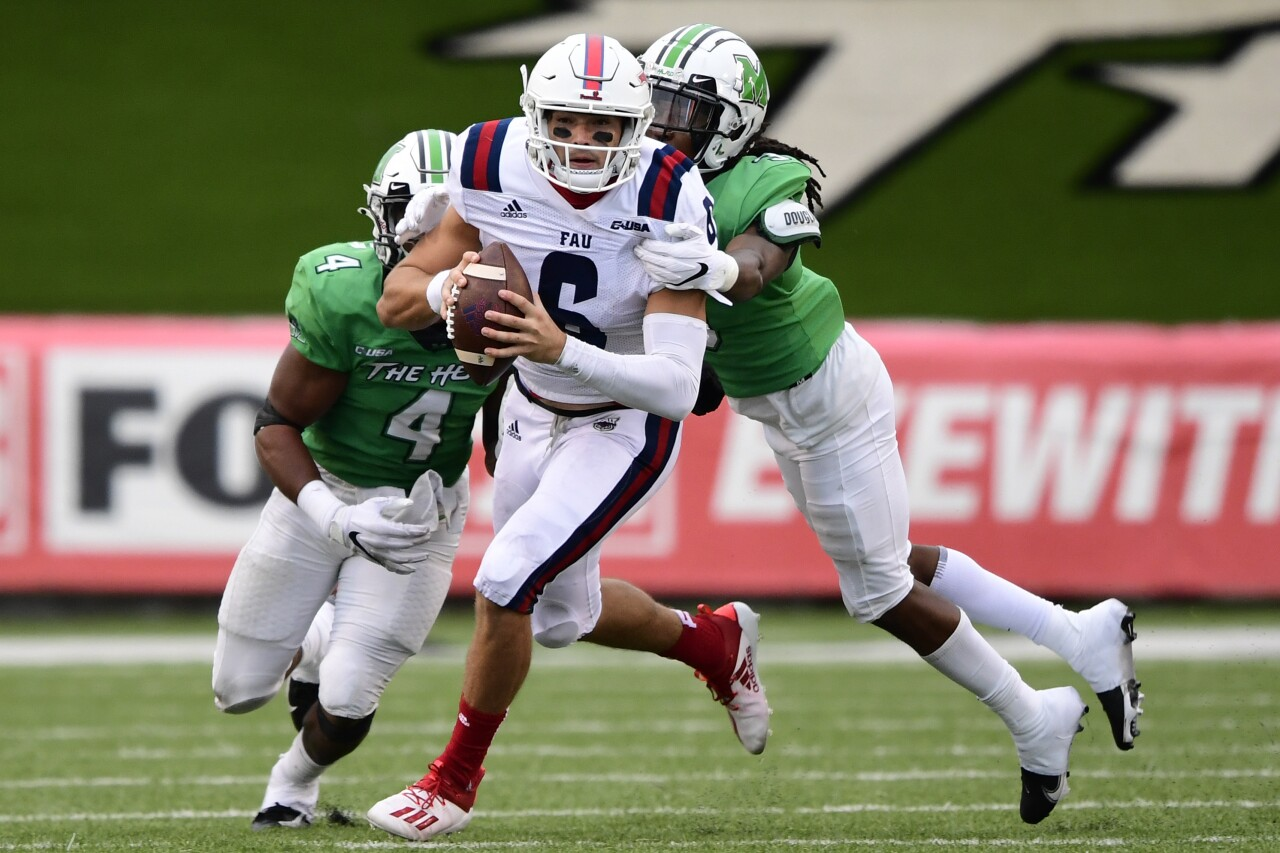 FAU Owls QB Nick Tronti sacked by Marshall Thundering Herd in 2020