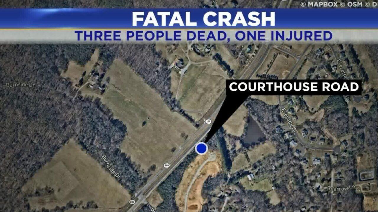 3 killed, 1 seriously injured in Spotsylvaniacrash