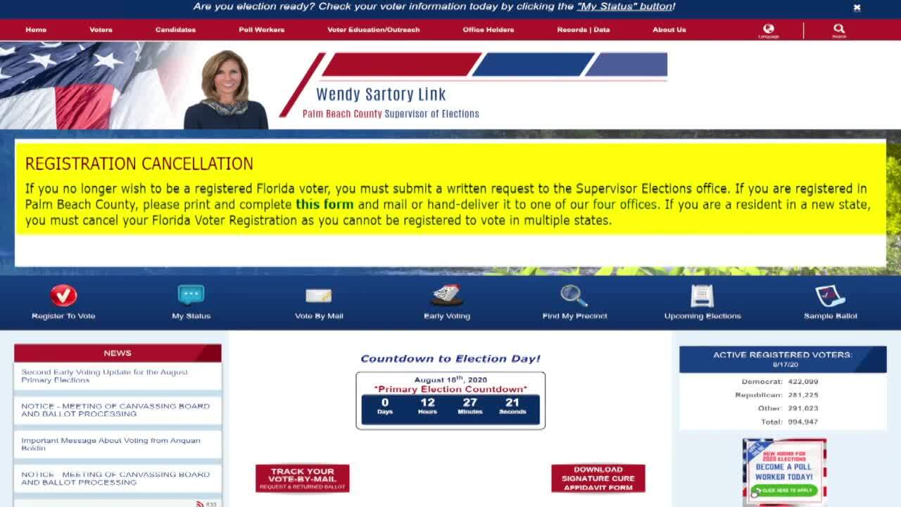 Palm Beach County elections website says voters must cancel registration