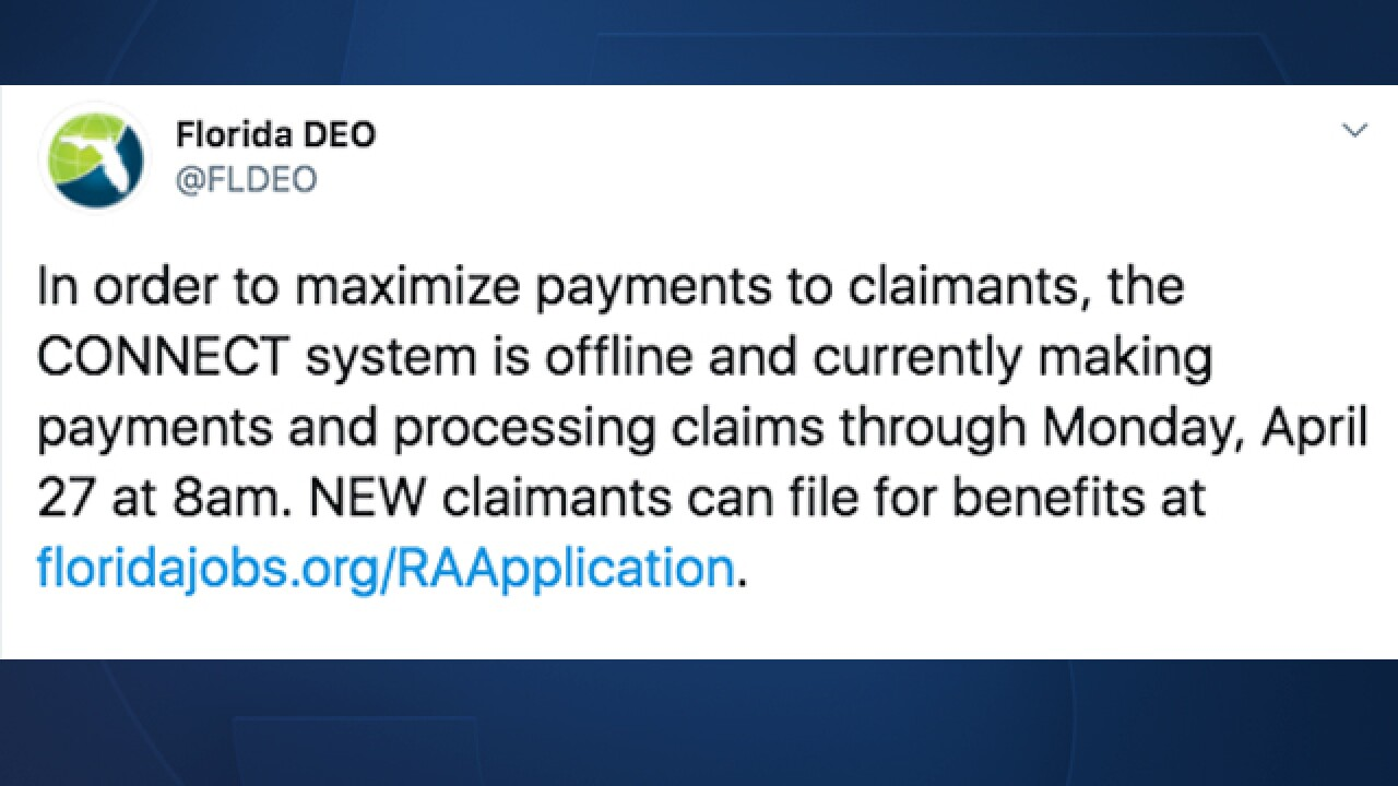 Visitors to the Florida Department of Opportunity's website on April 24, 2020, were greeted with a message that said the system won't be available until Monday, April 27.