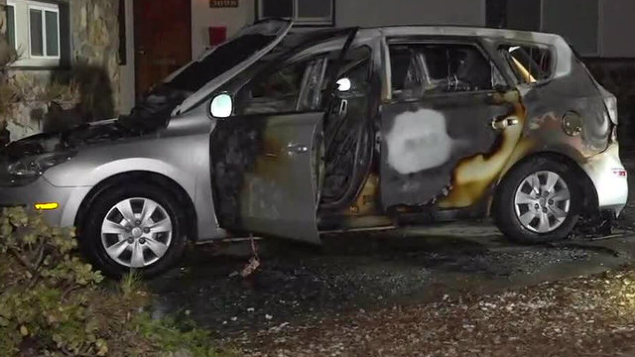 Woman arrested, accused of setting car on fire