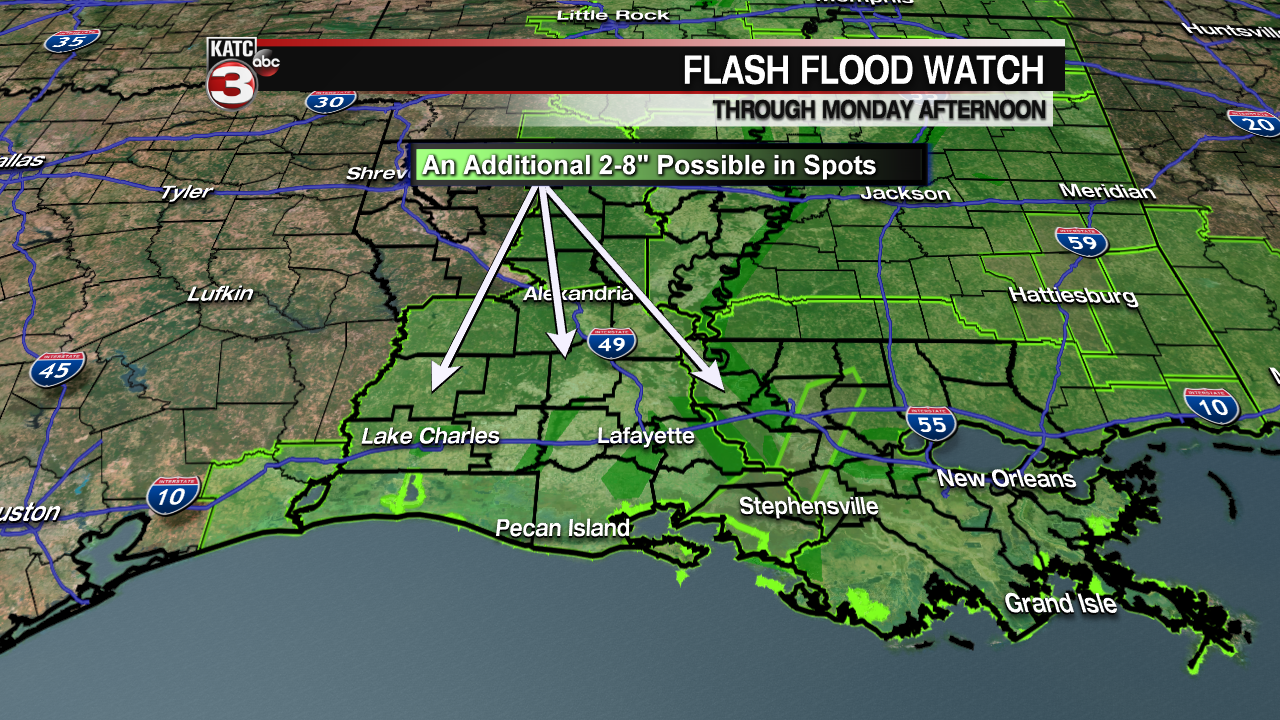 Scattered showers/storms continue Monday causing more flooding