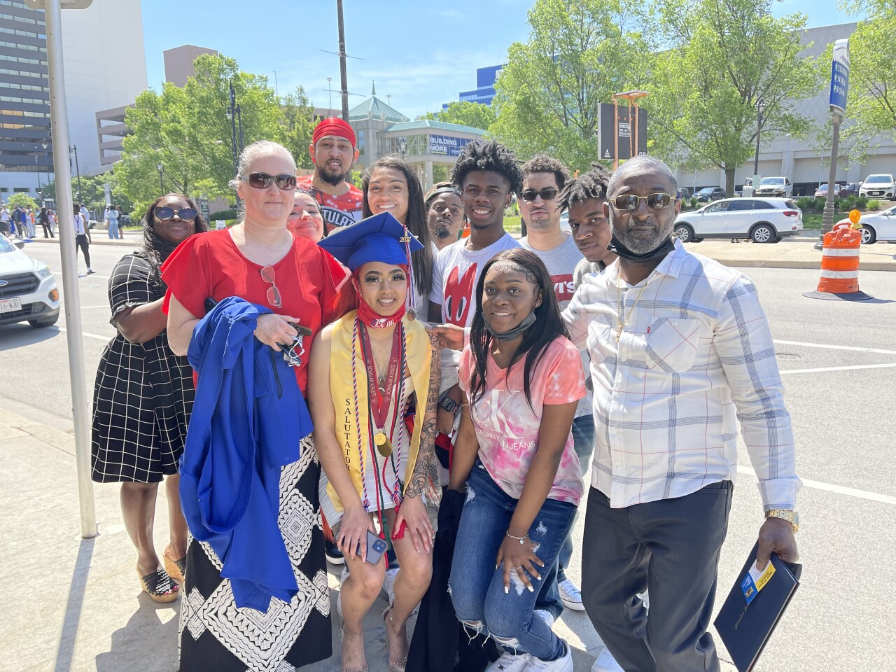 Marshall High School Graduate Kavina Spinks with her family