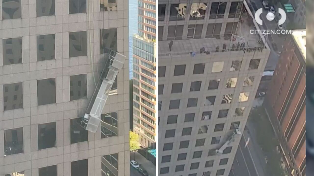 Workers stranded in hanging scaffolding in Lower Manhattan