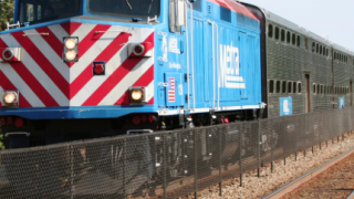Metra train on tracks