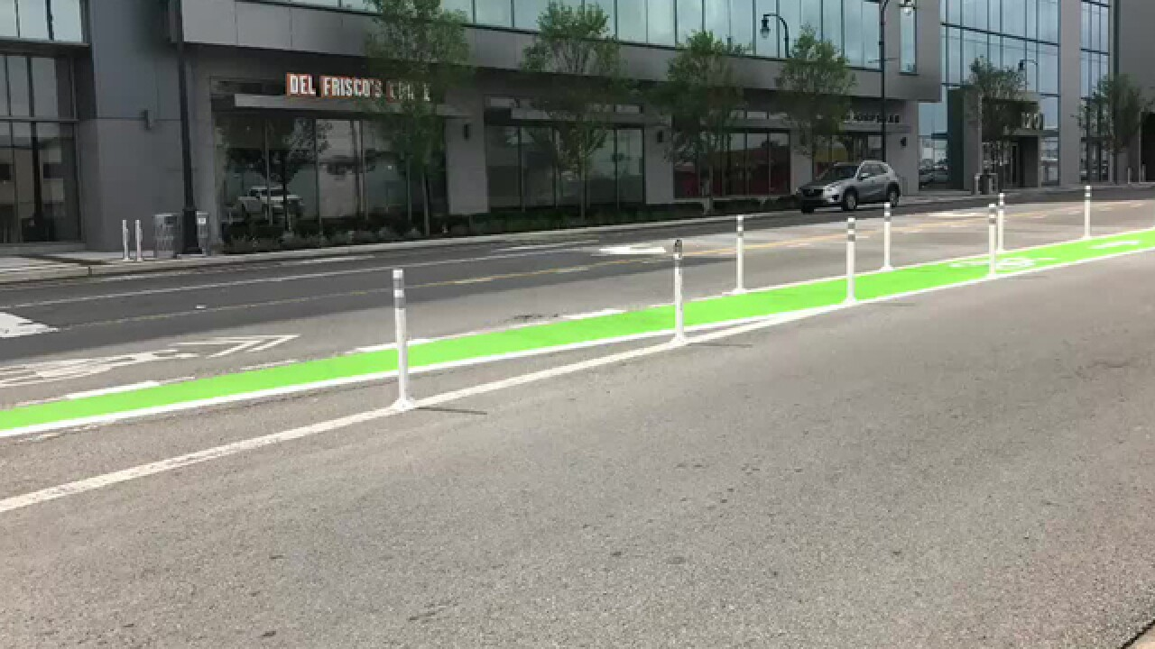 First Protected Downtown Bike Lane Completed