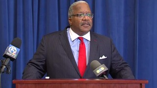West Palm Beach Mayor Keith James speaks at a news conference on April 17, 2020.