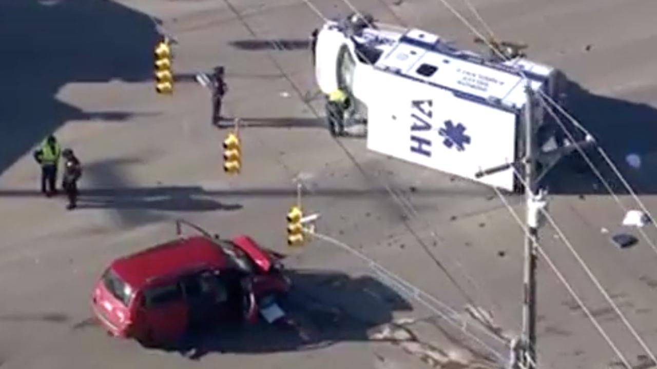 5 people taken to hospital after ambulance rollover crash in