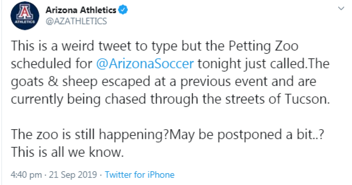 Petting zoo at U of A game will continue as scheduled