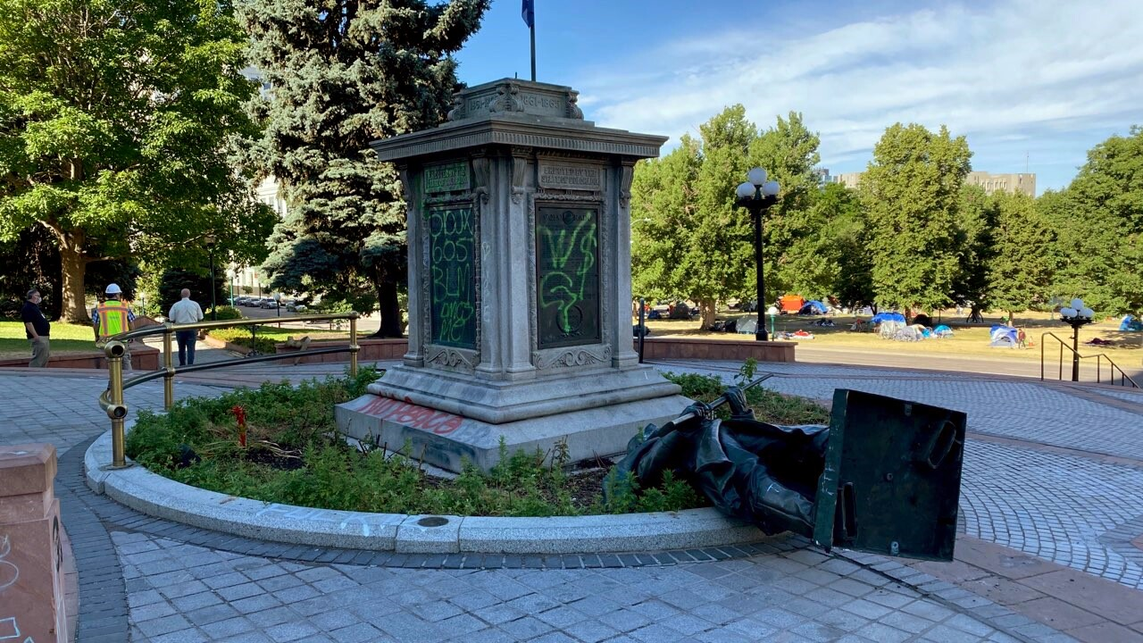Civil War statue toppled in front of Colorado State Capitol 2